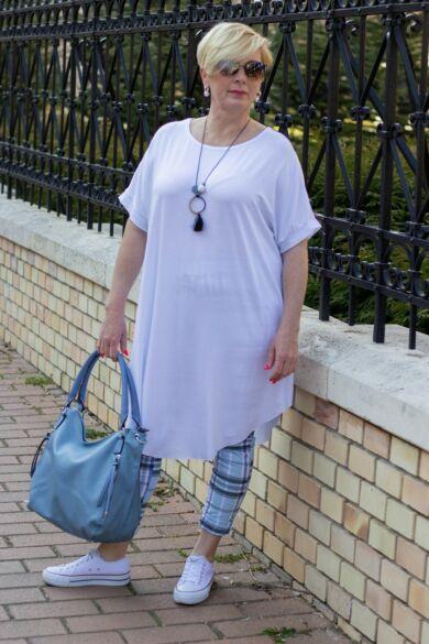 Kék színű, gumis derekú, rugalmas pamut-vászon nadrág