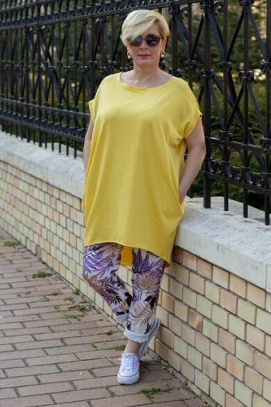 Lídia sárga laza stílusú, oldalt zsebes pamut tunika