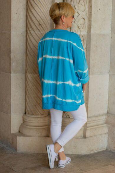 Kék batikolt, V nyakú pamut felső