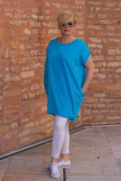 Lídia tűrkíz kék laza stílusú, oldalt zsebes pamut tunika