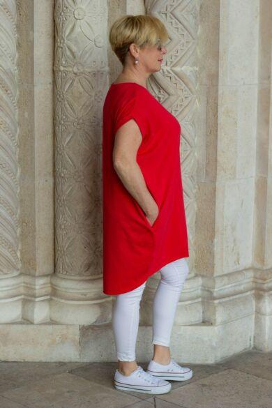 Lídia piros laza stílusú, oldalt zsebes pamut tunika