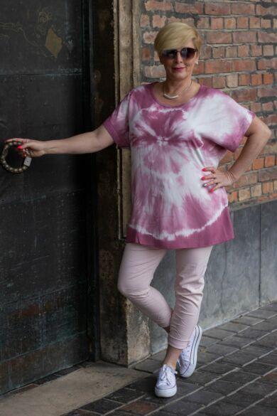 Púder színű batikolt felső