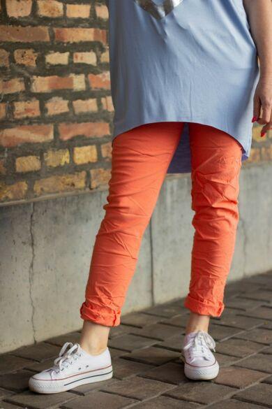 Korall színű, gumírozott derekú rugalmas pamut-vászon nadrág
