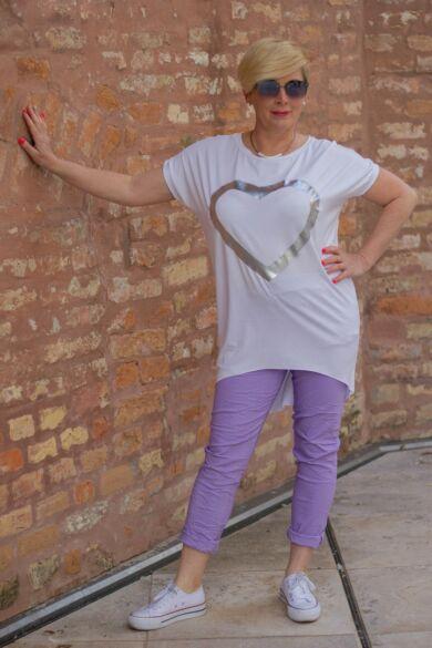 Lila színű, gumírozott derekú rugalmas pamut-vászon nadrág