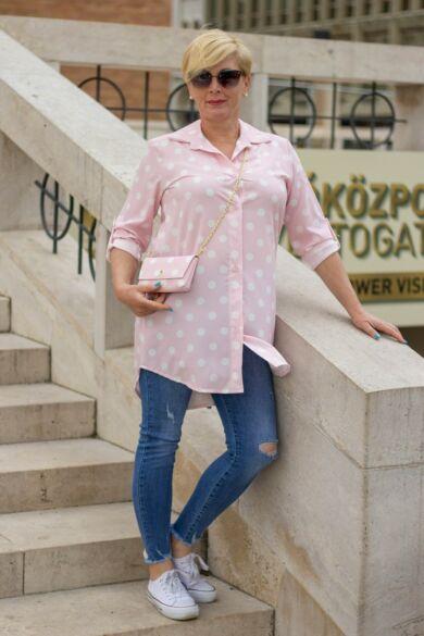 Rózsaszín alapon fehér pettyes ing + kis táska