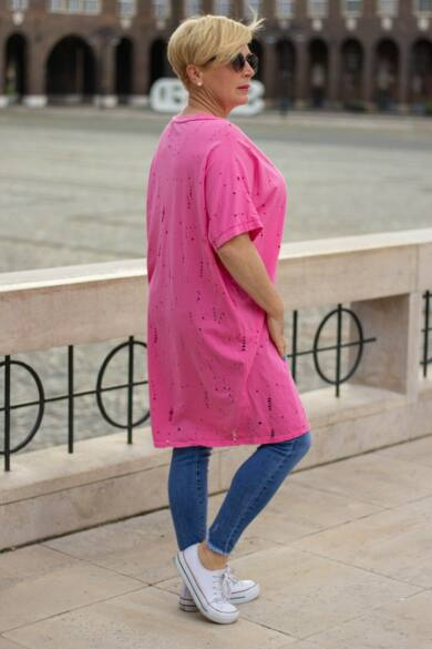 Zoey pink színű lyukacsos puha pamut tunika
