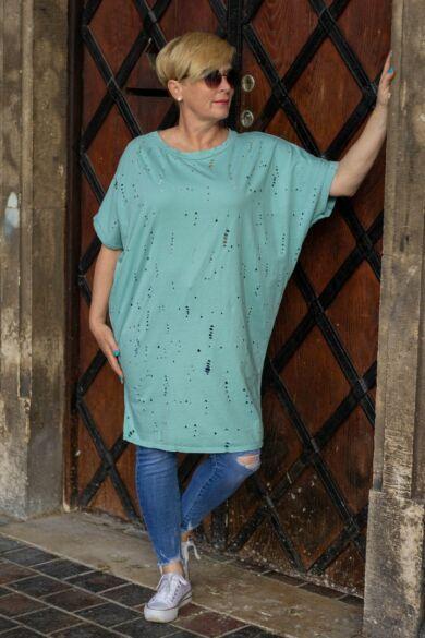 Zoey menta zöld színű lyukacsos puha pamut tunika