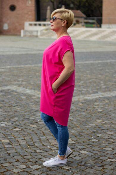 Lídia pink színű laza stílusú, oldalt zsebes pamut tunika