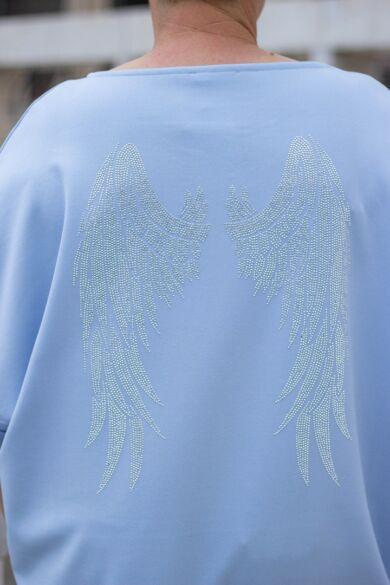 Angel világoskék felső, hátrészen angyalszárny strasszokból