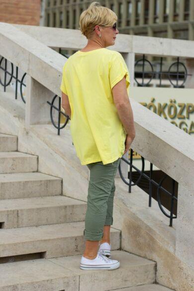 Sárga len-vászon- pamut felső