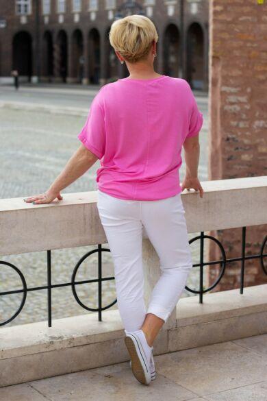 Léna pink színű oldalt megkötős pamut felső