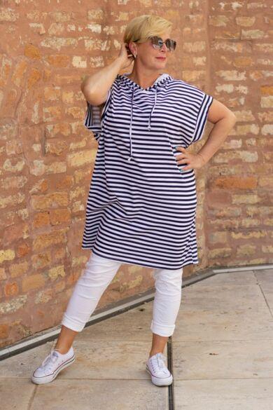 Kék - fehér csíkos, kapucnis pamut tunika - ruha