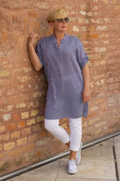 Kék- fehér csíkos géz-pamut ing