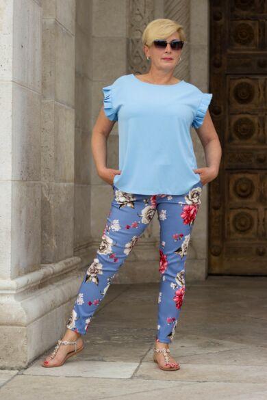 Zina kék alapon virágos nadrág