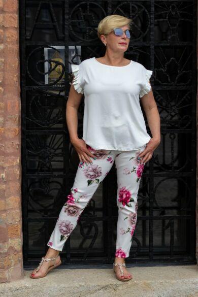 Zina fehér alapon virágos nadrág