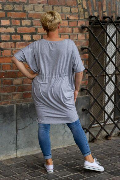Szürke színű pamut tunika-ruha