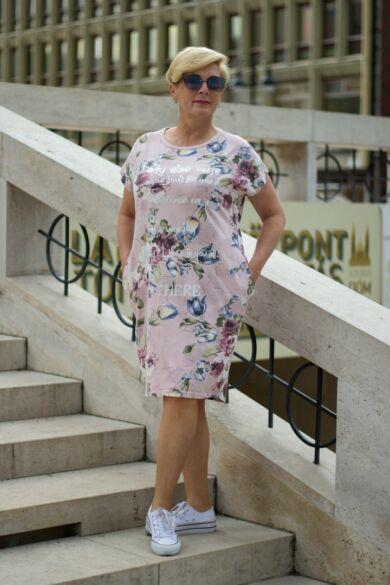 Púder alapon virágos pamut tunika-ruha