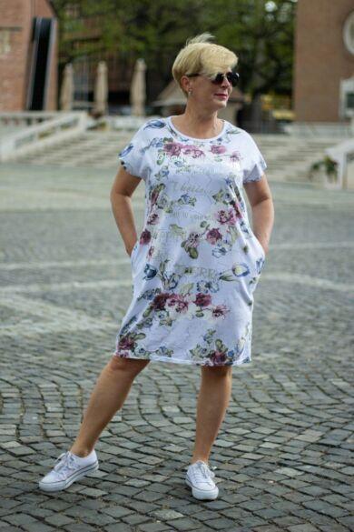 Fehér alapon virágos pamut tunika-ruha