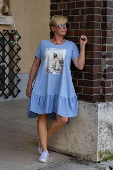 Stella világoskék A vonalú, alján fodros oldal zsebes pamut tunika-ruha