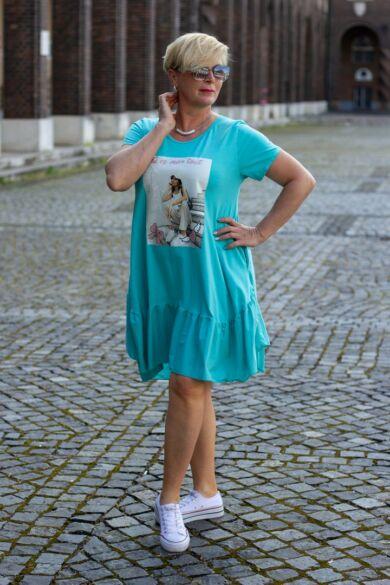 Stella menta zöld A vonalú, alján fodros, oldal zsebes pamut tunika-ruha