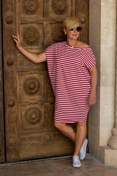 Leijla piros- fehér csíkos pamut tunika-ruha