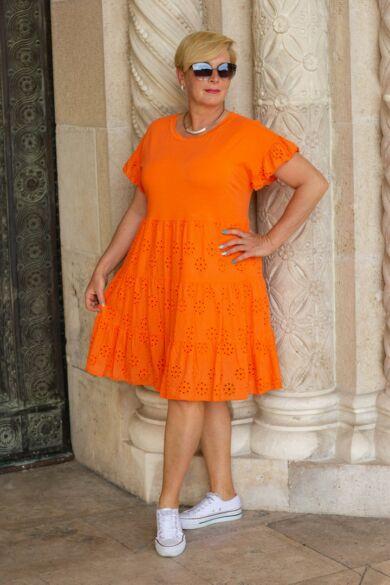 Narancs madeira csípkés pamut ruha