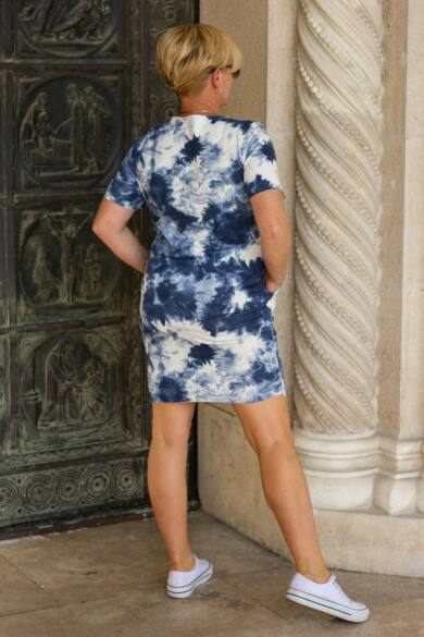 Gloria rövid ujjú, kék batikolt pamut tunika-ruha