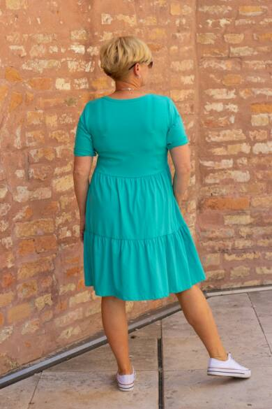 Menta zöld fodros pamut tunika-ruha