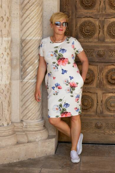 Gloria rövid ujjú, fehér alapon virágos pamut tunika-ruha