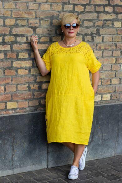 Léna sárga színű len-vászon ruha, oldalán zsebbel