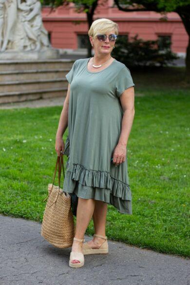 Adele A vonalú pamut ruha fodorral