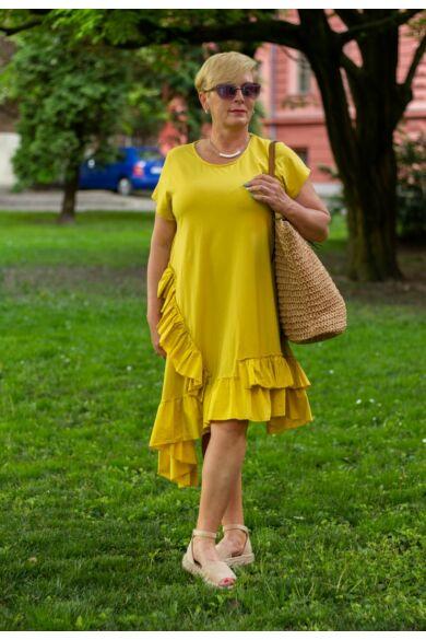 Adele sárga színű A vonalú pamut ruha fodorral