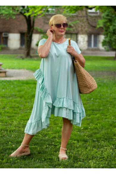 Adele menta zöld A vonalú pamut ruha fodorral