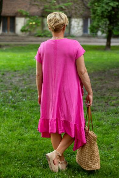 Adele pink színű A vonalú pamut ruha fodorral