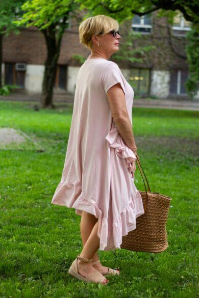 Adele puder színű A vonalú pamut ruha fodorral