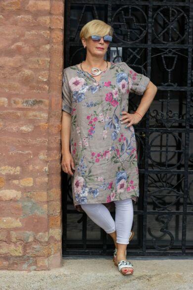 Vivian bézs alapon virágos len tunika-ruha