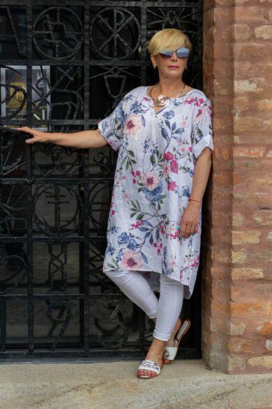 Vivian fehér alapon virágos len tunika-ruha