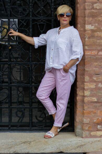 Púder szín alapon fehér pettyes nadrág, gumírozott derék résszel