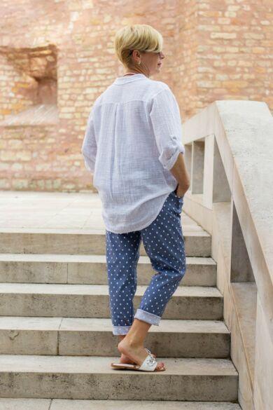 Kék alapon fehér pettyes nadrág, gumírozott derék résszel