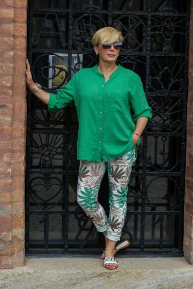 Zöld letisztult stílusú, laza géz ing