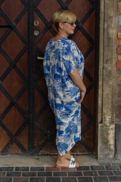 Everly kék mintás laza stílusú ruha