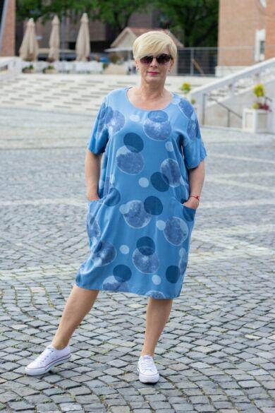 Mia kék színű zsebes tunika-ruha