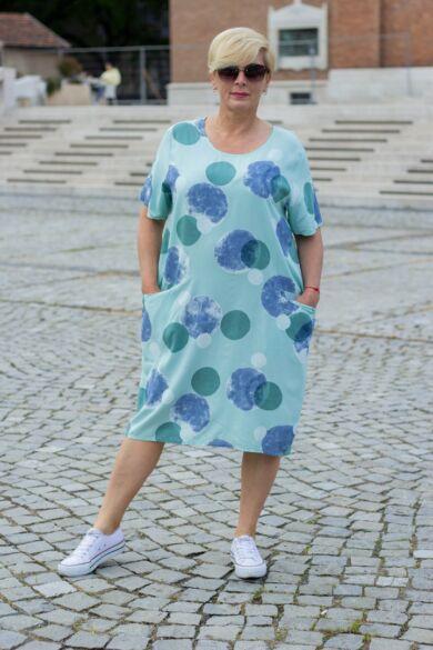 Mia menta zöld színű zsebes tunika-ruha