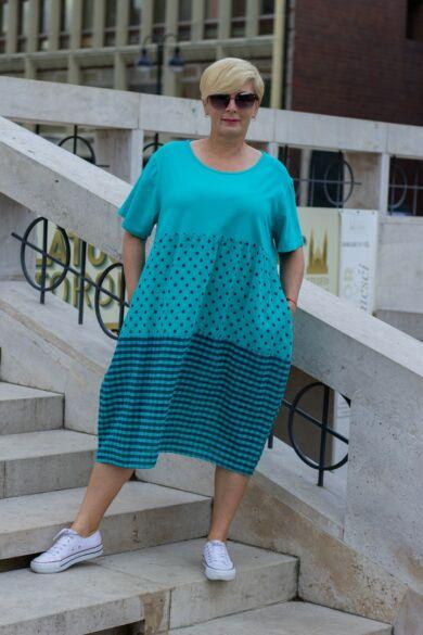 Isabella zöld alapon pettyes, kockás géz ruha