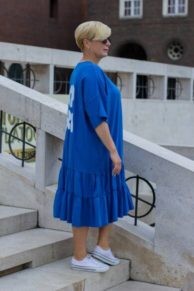 Királykék laza stílusú pamut tunika-ruha