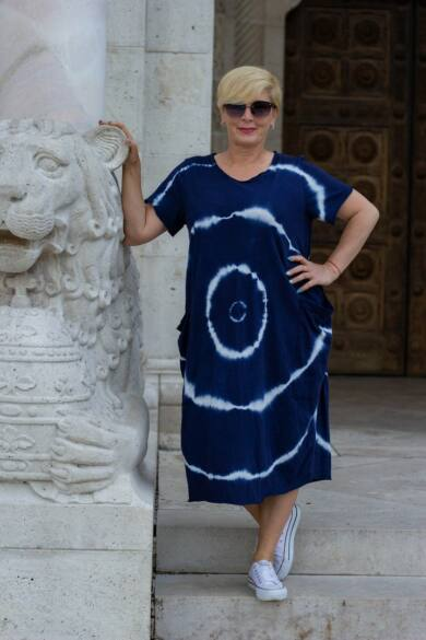 Lydia kék batikolt pamut ruha