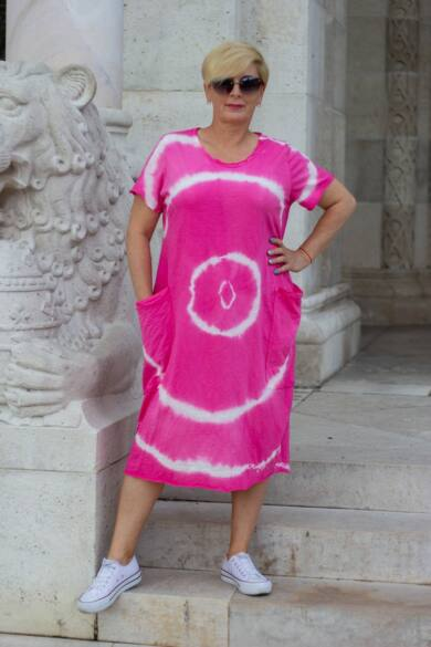 Lydia pink batikolt pamut ruha