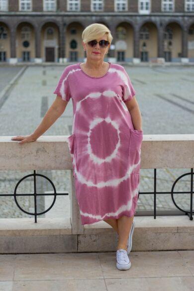 Lydia mályva színű batikolt pamut ruha