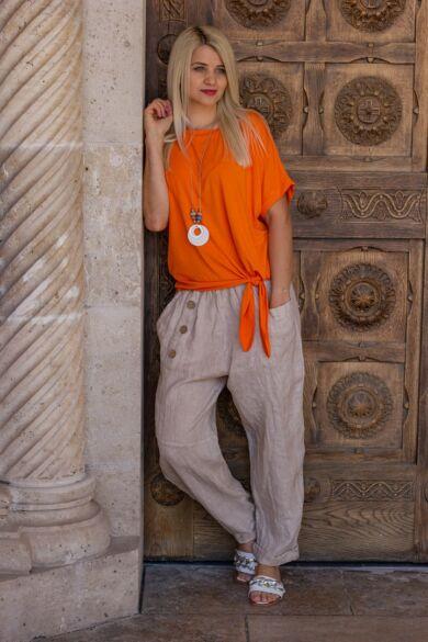 Léna narancs színű oldalt megkötős pamut felső
