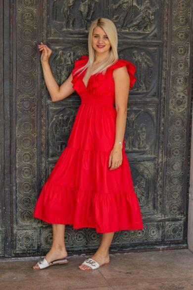 Amelya piros fodros maxi-ruha